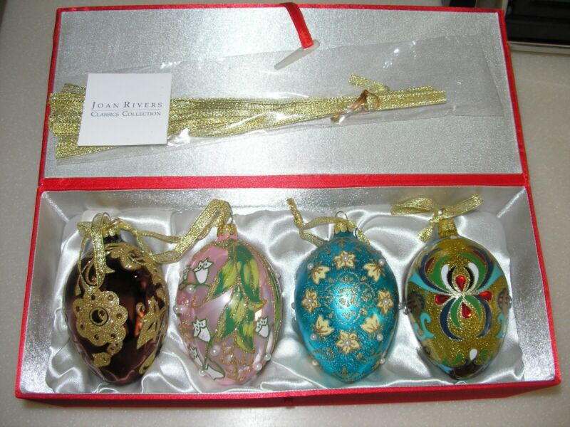 JOAN RIVERS EGG Faberge Russian ORNAMENTS w BOX classics glass 2009