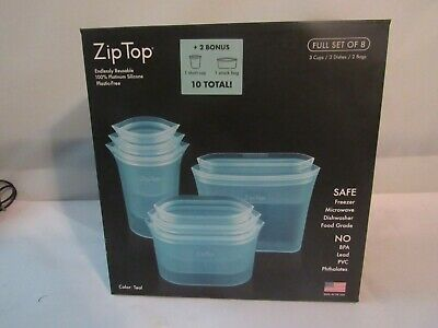 Zip Top Reusable Containers 100%Platinum Silicone Food Storage Set Of 10 Total