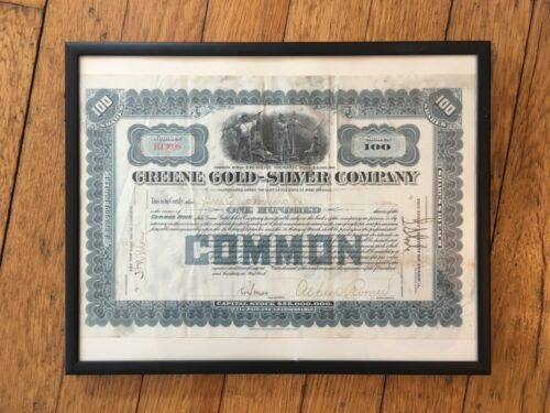 Collectible Greene Gold-Silver Company Stock Certificate in Black Frame