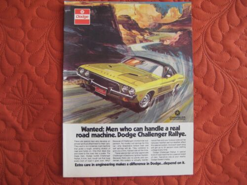 1972 DODGE CHALLENGER RALLYE  - ORIGINAL PRINT CAR AD - EXCELLENT CONDITION
