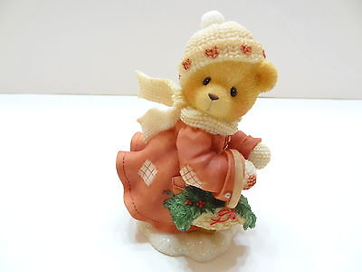 NIB 1999 Cherished Teddies SHIRLEY Girl Bear Carrying Basket With Holly 533777