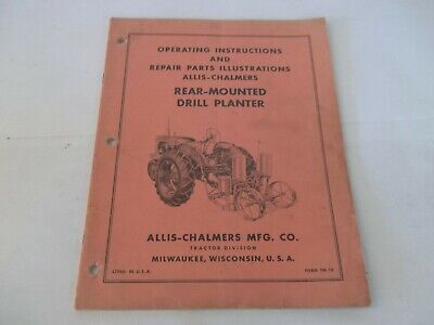 Allis-chalmers Rear-mounted Drill Planter Operation Parts Manual Form Tm-18