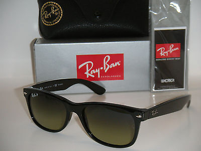 RAY BAN NEW WAYFARER RB 2132 901/76 55MM BLACK FRAME POLARIZED GREEN GRADIENT on Rummage