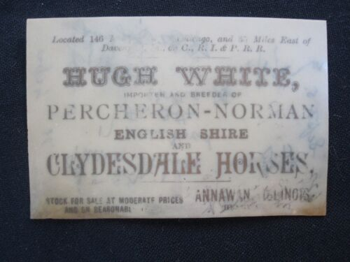 Hugh White Importer of Clydesdale Horses, etc.- His Business Card.