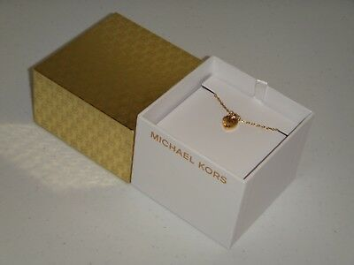 Michael Kors Women's Gold Tone Necklace MK Logo Heart MKJ7026710 Crystals + BOX