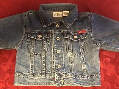 Baby Guess Jean Jacket Infant 12 Months Blue Denim Spellout Embroidery Unisex Baby Guess Jean