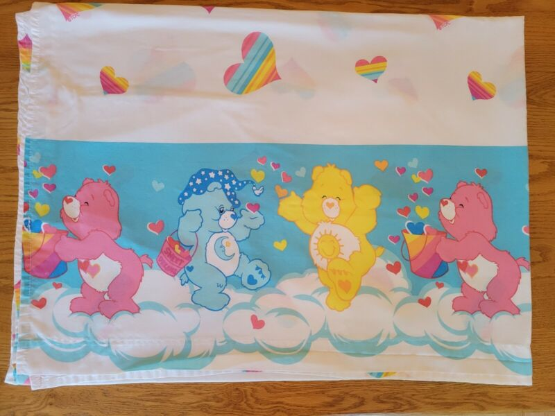 Vintage Care Bears Twin Sheet Hearts Fabric