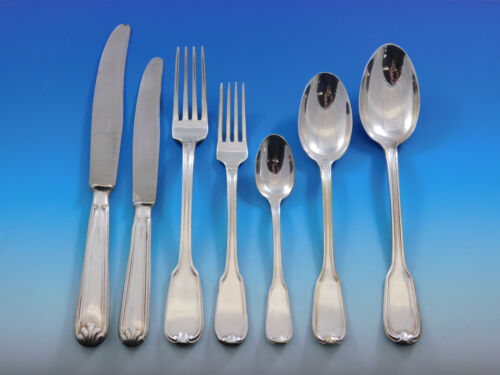 Fiddle Thread German 800 Silver Flatware Set Service 58 pieces Dinner