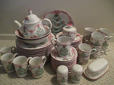 Sango Home For Christmas 64 pc set plates dishes teapot platter  # 4829 pink