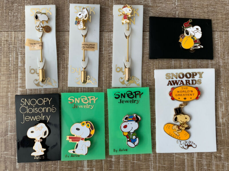 Vintage Snoopy Jewelry, by Aviva pins. Snoopy, Belle , Award Pin + more.