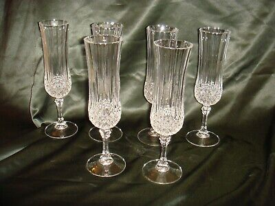 6 VINTAGE FRENCH LONGCHAMP CRYSTAL CRISTAL D'ARQUES CHAMPAGNE FLUTES GLASSES