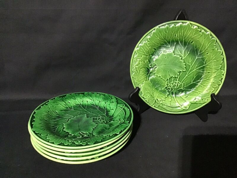 6 ANTIQUE VICTORIAN GREEN MAJOLICA CABBAGE LEAF LUNCHEON & SALAD PLATES WEDGWOOD