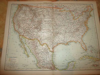 Old Map UNITED STATES (GENERAL MAP) ~ Taken From The Universal Atlas 1893