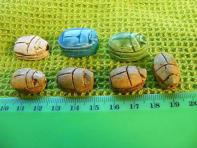 .Lot of 7 Egyptian Scarabs hand-made of Egypt faience & steatite.Hieroglyphics.