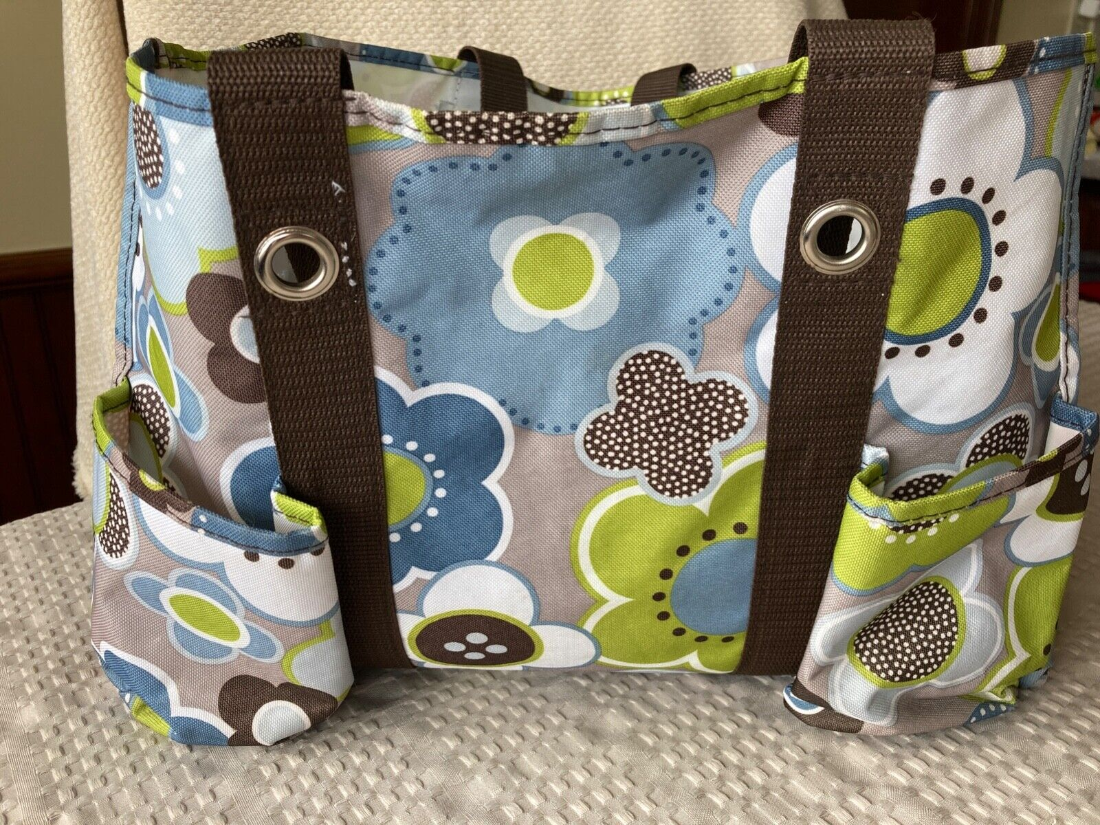 Carry All Tote By Thirty One Blue Green Brown Flowers - $4.99