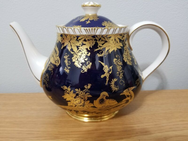 Rare Royal Crown Derby Paradise Cobalt Teapot