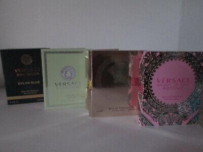 Set of 4 x Perfume Samples Versace Eros Dylan Blue Bright Crystal Absolu Sprays