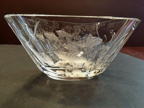 Vintage Orrefors Kjellander Heavy Engraved Fish Crystal Art Glass Bowl Signed