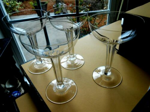 French Champagne Coupes Cut Hollow Stem 7 Petal Crystal Antique Set 4