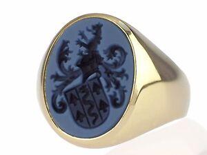 Jugendstil Herren 585 Gelb Gold Blau Achat Wappen Siegel Ring