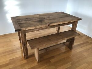 Rustic Farm Harvest Table and Bench