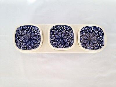 3 Tapas, Snack Bowls & Tray Set Tunisian Rainbow/Chrysanthemum Designs. Handmade Snack Tray Set