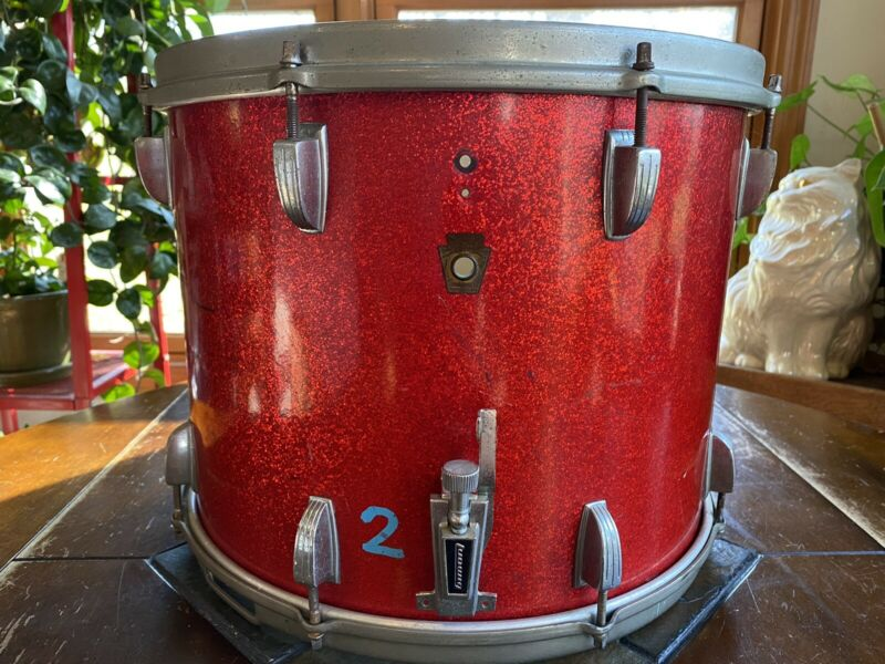 Vintage KEYSTONE LOGO LUDWIG MARCHING BAND SNARE DRUM 1961 RED METALLIC SPARKLE