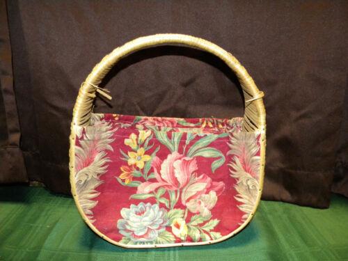 Vintage Woven Floral Basket Handbag Purse