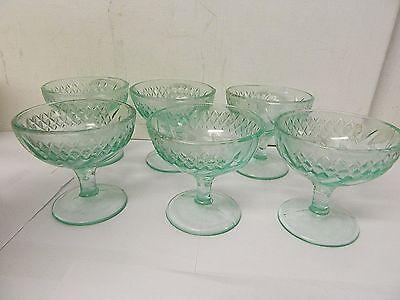 US Glass 1920s Era Floral & Diamond Green Glass Sherbert/ Champagne Set of 6