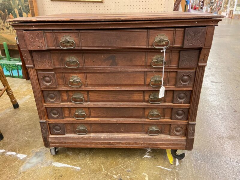 Antique Williamantic Owl 6 Drawer Country Store Spool Cabinet Thread Display