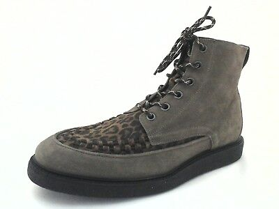 All Saints Moth Mens  Fashion Lace Up Boot Taupe Animal Print US 12 EU 45 UK 11