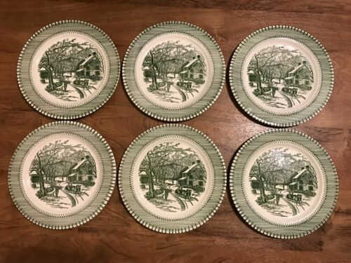 """Country Life 10"""" Green Dinner Plates Currier & Ives by Knowles Set of 6"""