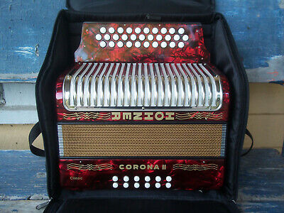 HOHNER Corona II pearl red button accordion ZYDECO keys GCF gigbag GERMANY in NC