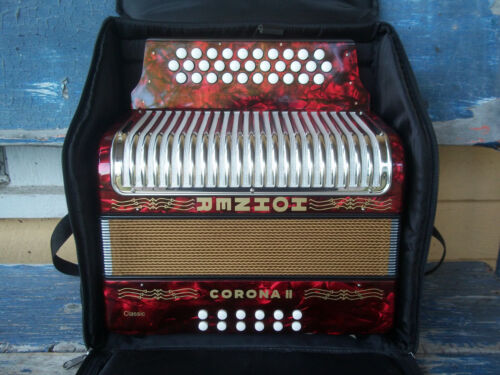 HOHNER Corona II classic pearl RED button accordion keys GCF made in GERMANY