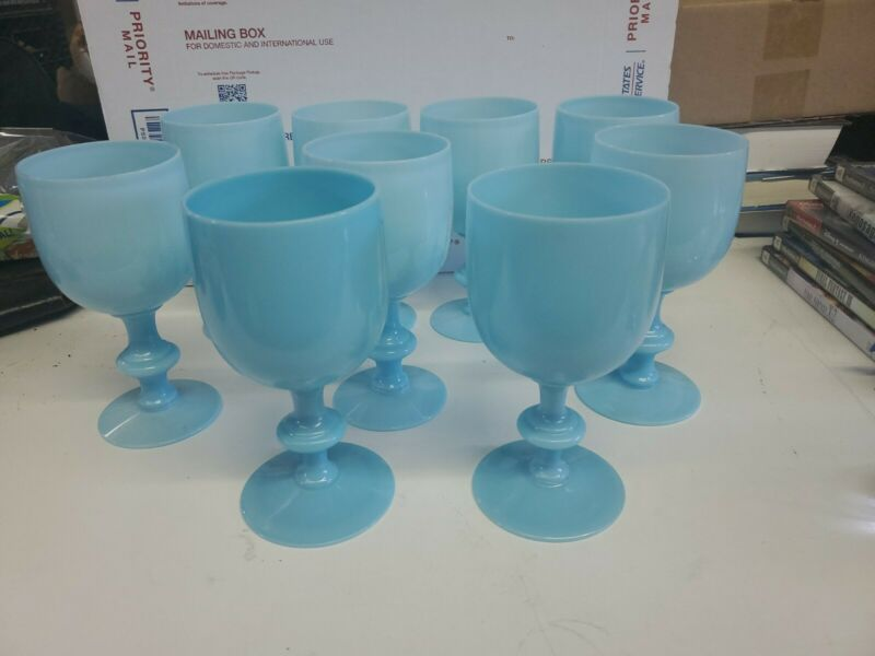 """9 Antique P.V. FRANCE BLUE OPALINE MILK GLASS GOBLETS Portieux Vallerysthal 6.5"""""""