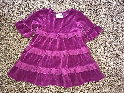 - Girls Hanna Andersson Pink Velour Ruffled Dress 80 18-24 Months 2T Twins