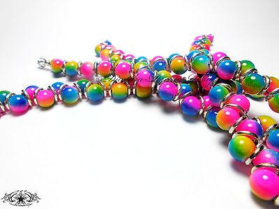 ZICK ZACK Armband REGENBOGEN * Glasperlen * Multicolor * Bunt * Silberringe
