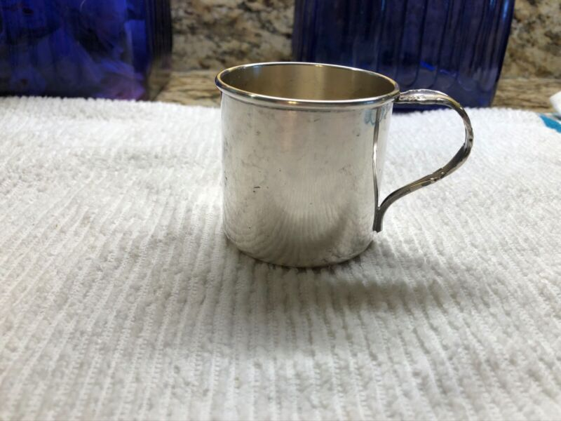 Antique 1881 Rogers Silver Plated Baby Mug Cup Spoon Handle