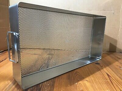 X Medin Stainless Steel Instrument Tray Basket Whandles 20 X 10.5 X 3.5