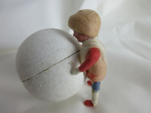 antique,Heaubach?,spun cotton,child with snowball,CANDY CONTAINER,Christmas,
