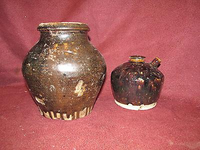 Antique Oriental Asian Ceramic Pots Kendi 2 Pieces