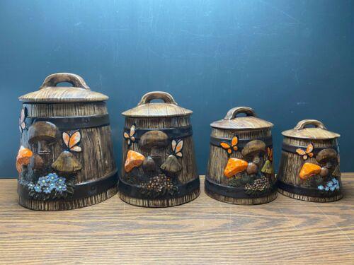 Vintage 4 Piece Mushroom Kitchen Canister Set Barrel Shaped Brown Butterflies