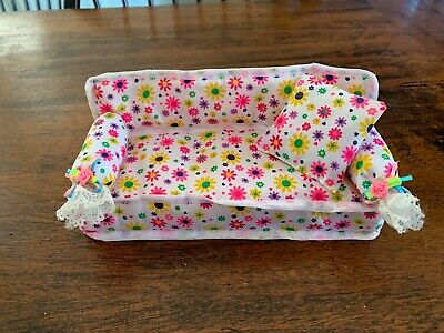 Mini Furniture Floral Sofa Couch +Cushion Toys Set For Barbie Doll House