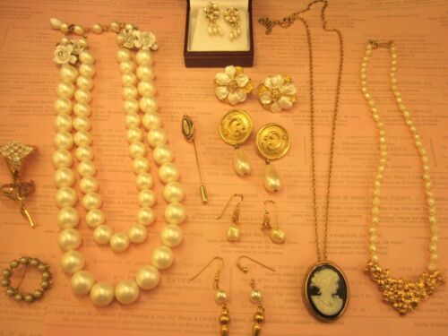 VTG Jewelry Lot-Some Avon-Faux Pearls-Pierced Earrings-Cameo Pendant-Brooches