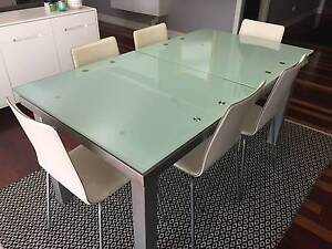 Extendable Glass Dining Setting with 6 White Chairs Cornubia Logan Area Preview