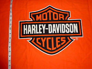 HARLEY DAVIDSON Fabric ORANGE SHIELD - Fat SQ 19