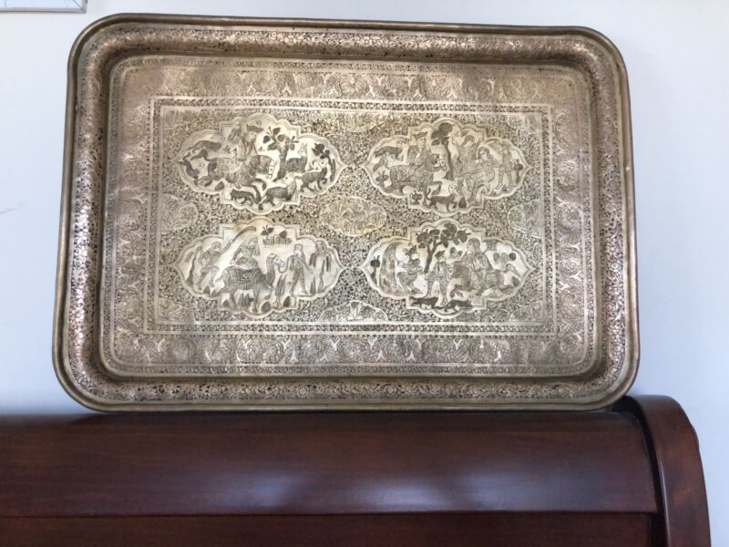 Rare Antique Persian Brass Tray Very Fine Detailed Engraved