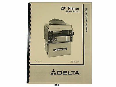 Delta 20 Planer Model Rc-51 Instruction And Parts List Manual 865