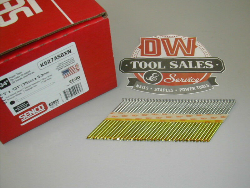 "MADE IN USA Senco 10d 3"" GALVANIZED  Full Round Head Nails 30-35 Degree Paper"