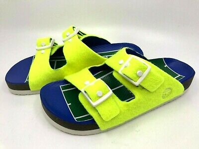 Tory Burch Sport NEW Tennis Ball Felt Yellow Slide Buckle Flat Sandals 8M (Tory Burch Tennis)